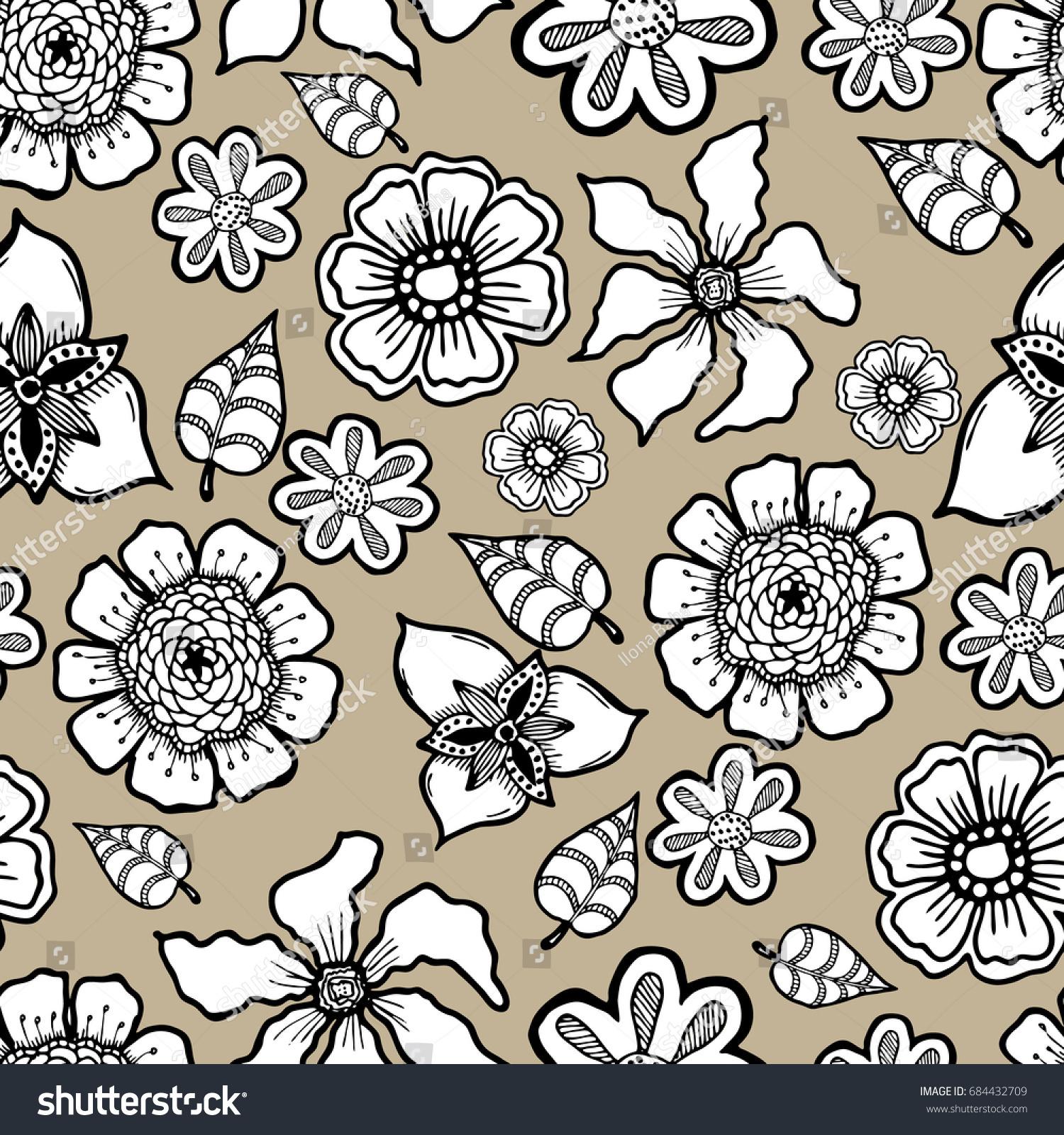 Ornate Floral Pattern Flowers Doodle Sharpie Stock Illustration 1500x1600