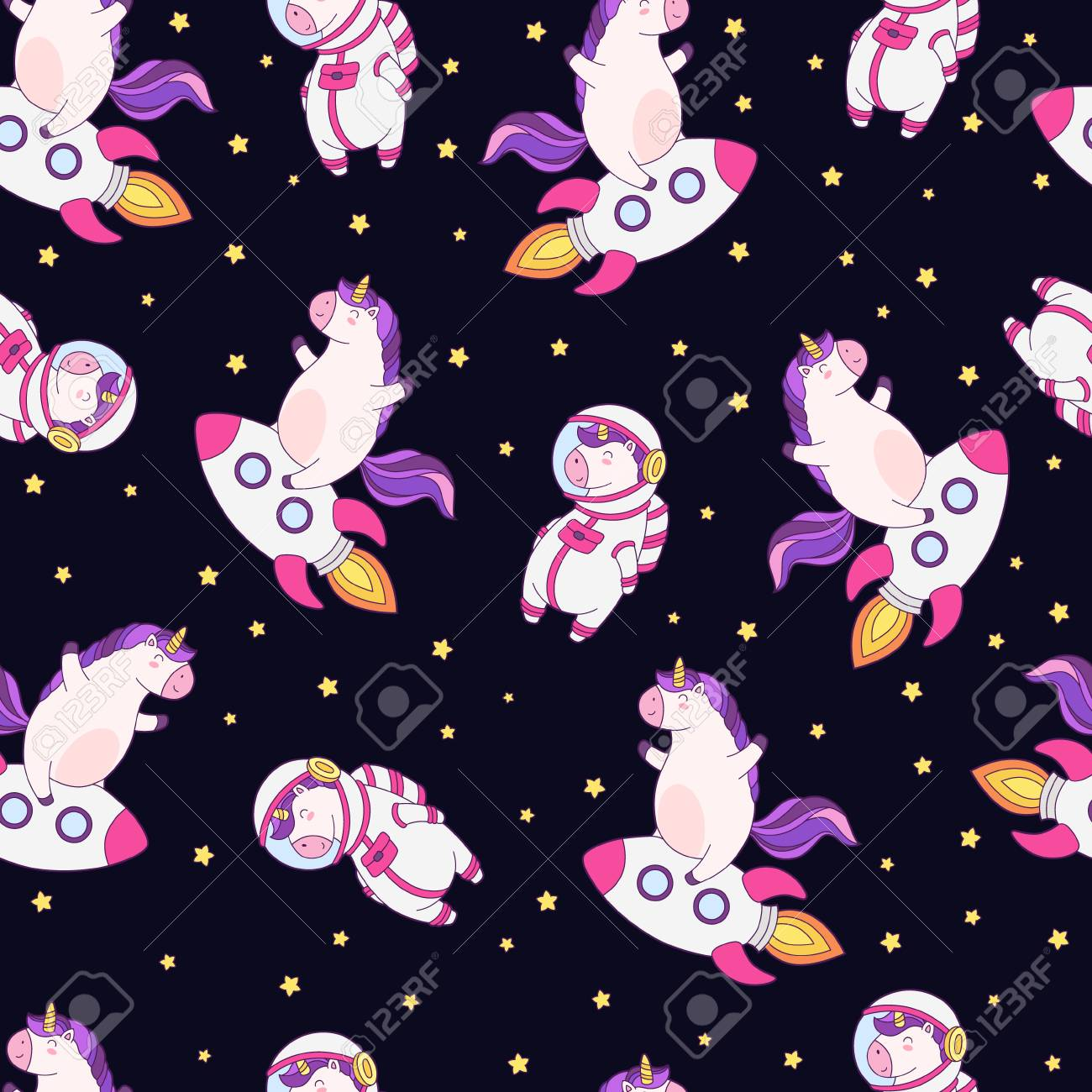 Seamless Vector Pattern Background Wallpaper With Funny Unicorns 1300x1300