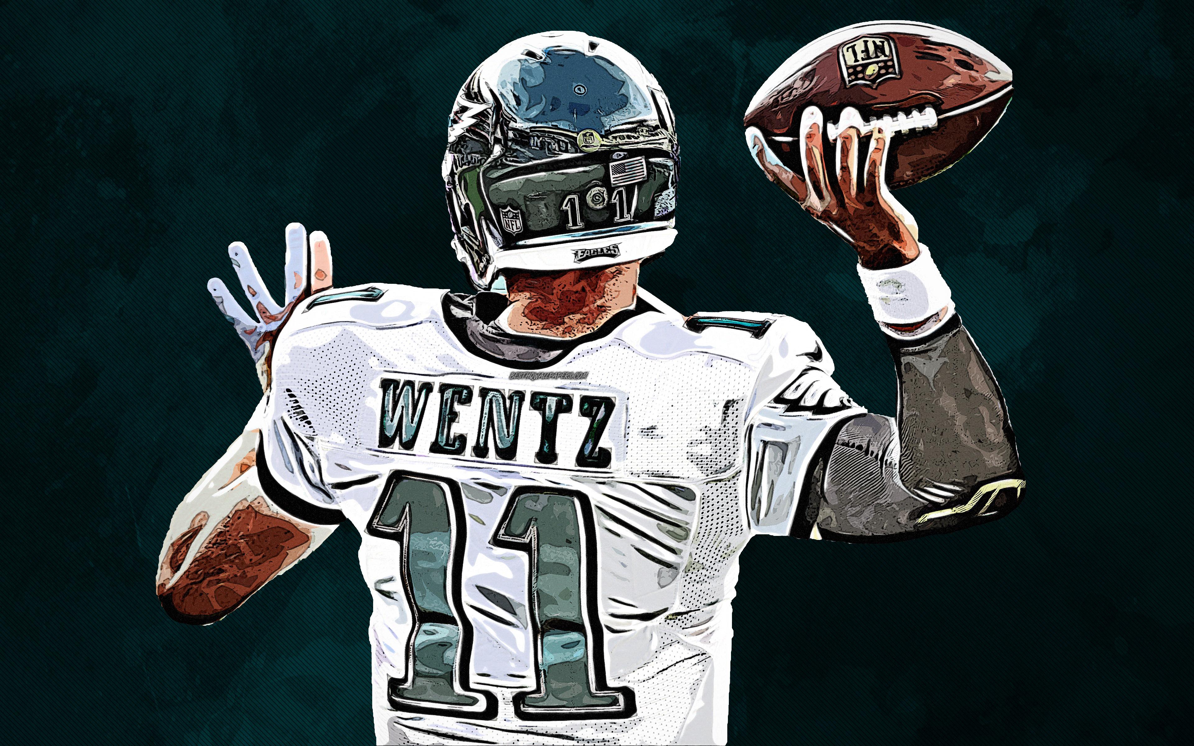 Download wallpapers Carson Wentz 4k art Philadelphia Eagles 3840x2400
