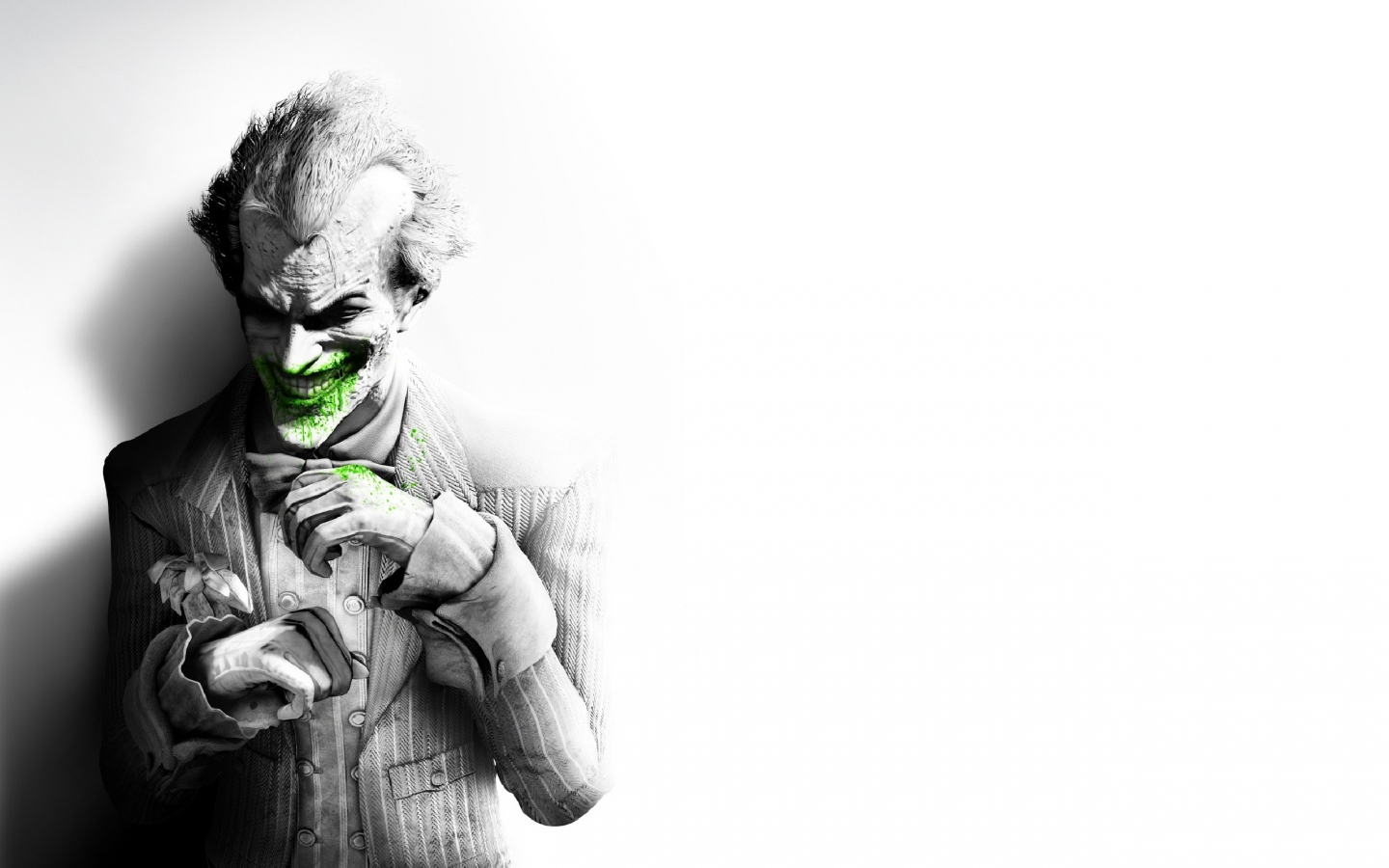 1440x900 Wallpaper batman arkham city joker smile suit flower fan 1440x900