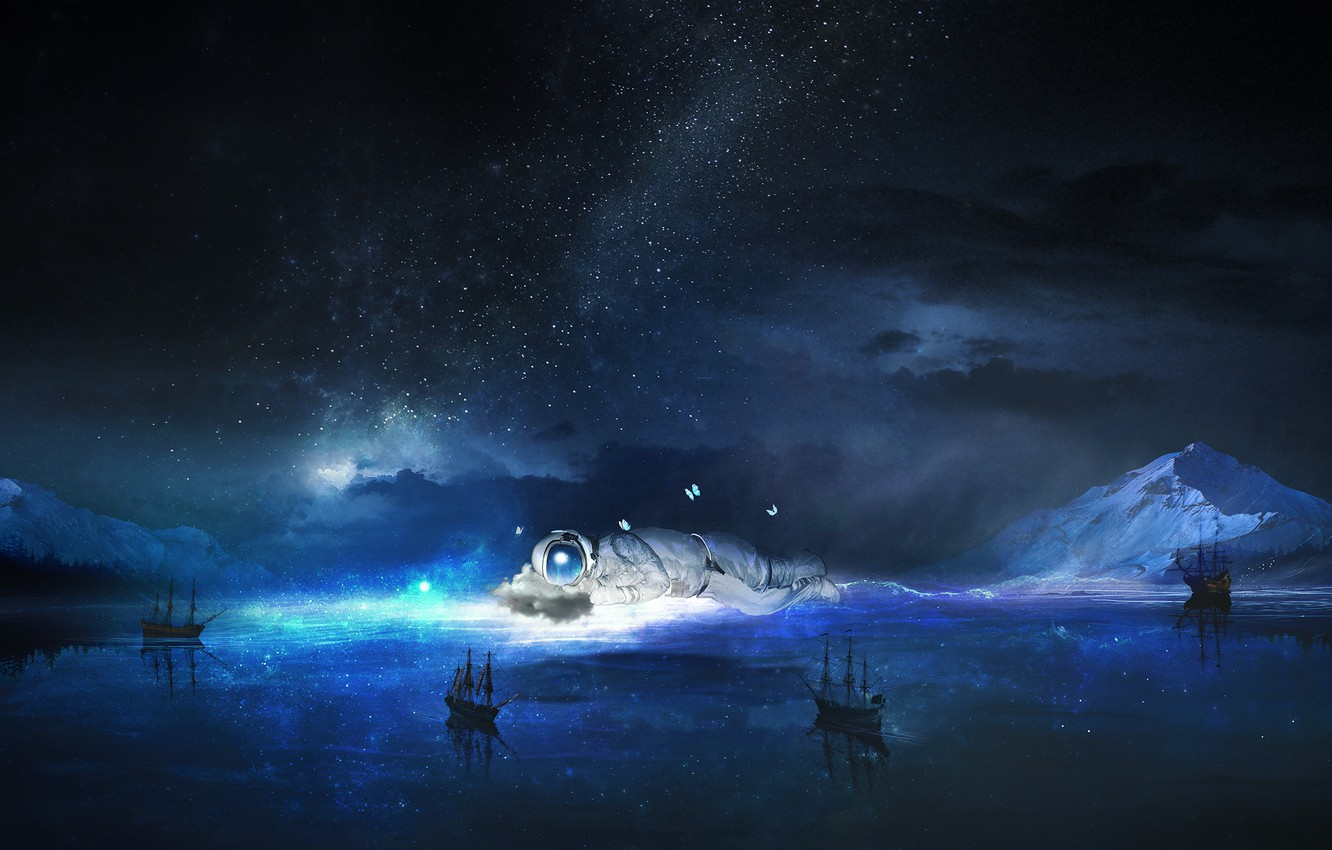 Wallpaper sea the sky water stars night fiction butterfly 1332x850