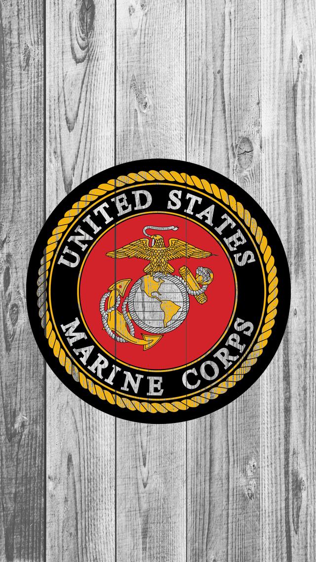 USMC logo on wood iPhone 5 Wallpaper 640x1136