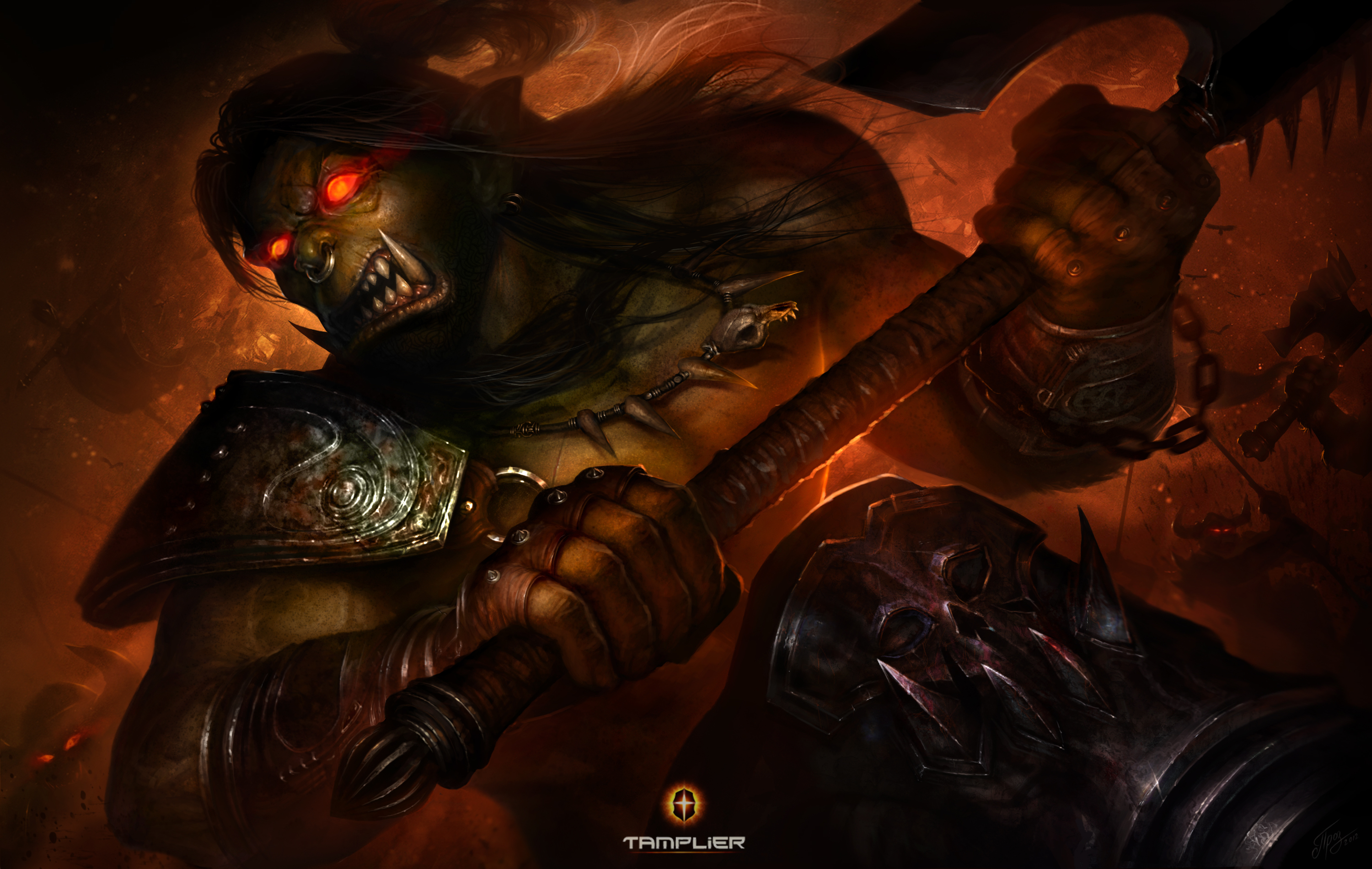 World of WarCraft WoW Warriors Orc Battle axes Games fantasy warrior 3000x1901