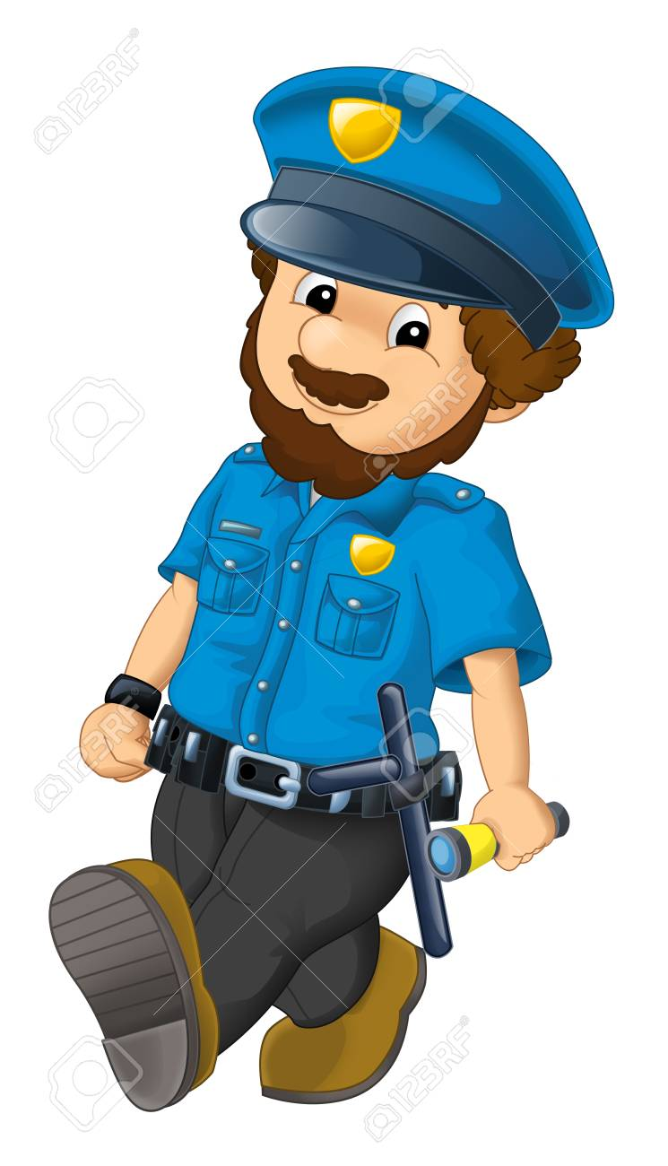 Cartoon Scene With Happy Policeman On Duty On White Background 745x1300