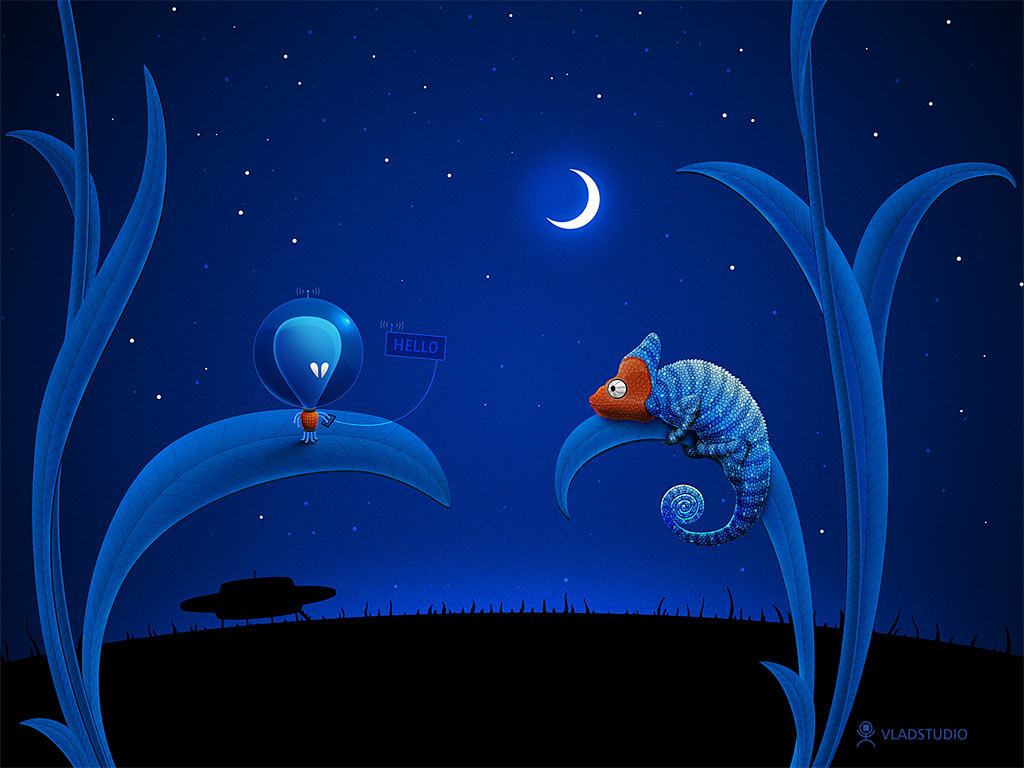 Alien Chameleon Wallpaper by Vlad Studio 1024x768