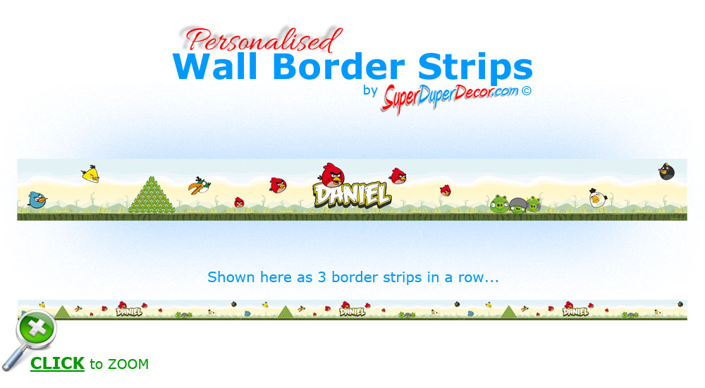 Details about ANGRY BIRDS BEDROOM WALL BORDER strips personalised with 1000x550