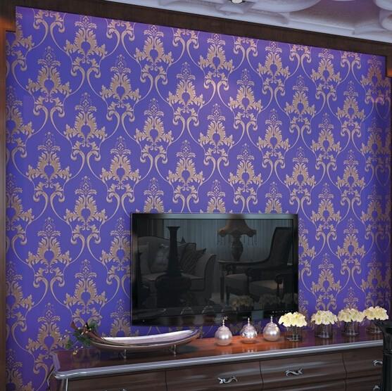 Vinyl puple wallpaper waterproof desktop vintage damask wallpaper 557x556