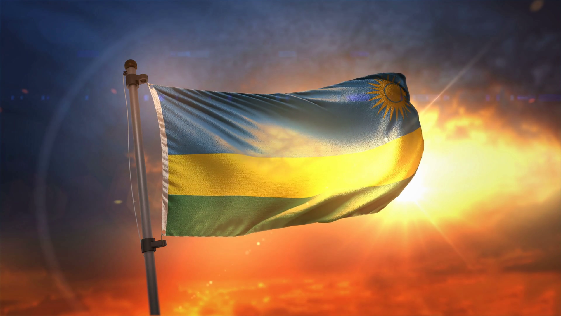 Rwanda Flag Backlit At Beautiful Sunrise Loop Slow Motion 4K 1920x1080