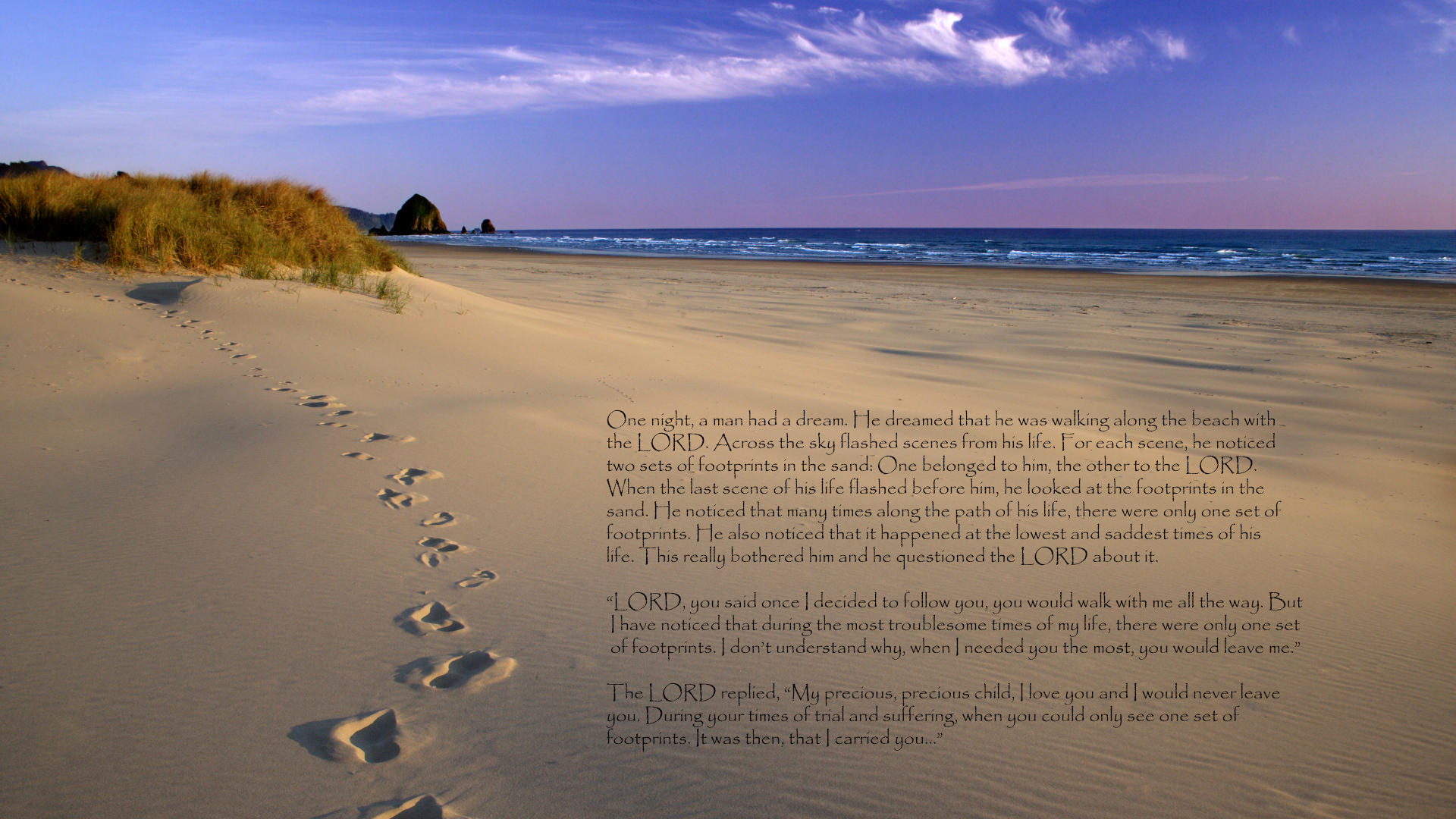 footprints in the sand poem large text only MEMEs 1920x1080