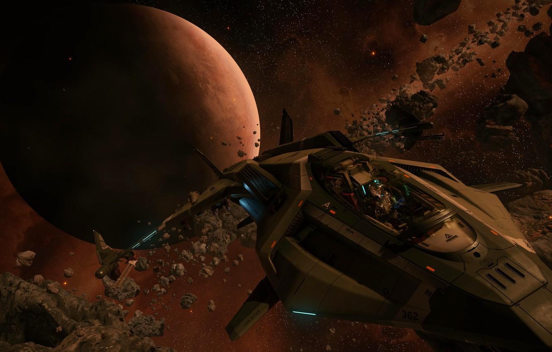 Wallpaper space flight fragments planet starship Star Citizen 1332x850