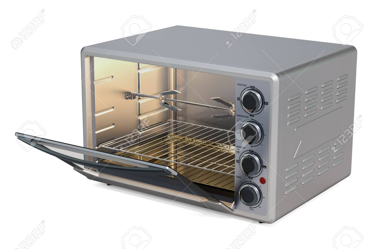 Opened Convection Toaster Oven With Rotisserie And Grill 3D 1300x866