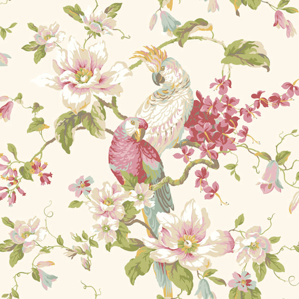 Pink Tropical Birds With Magnolias Wallpaper   Wall Sticker Outlet 600x600