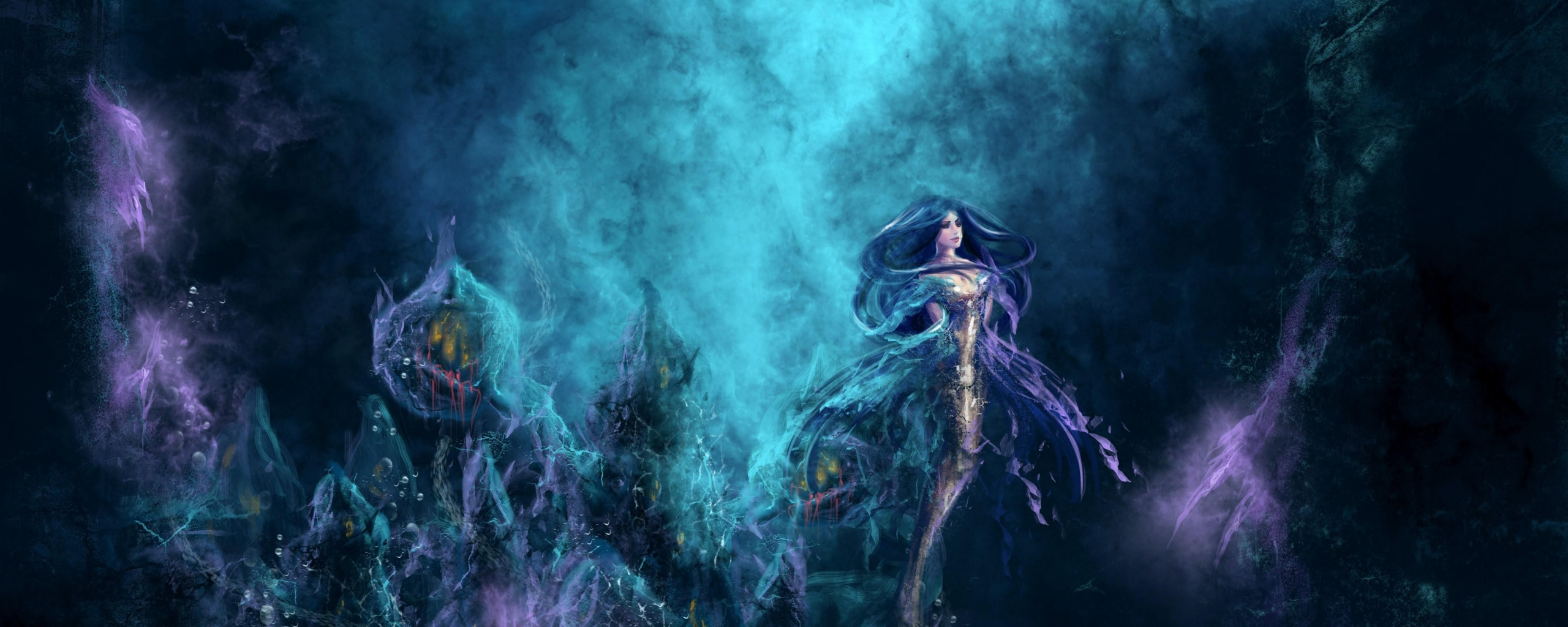 Download Wallpaper 2560x1024 mermaid underwater water depth Dual 2560x1024