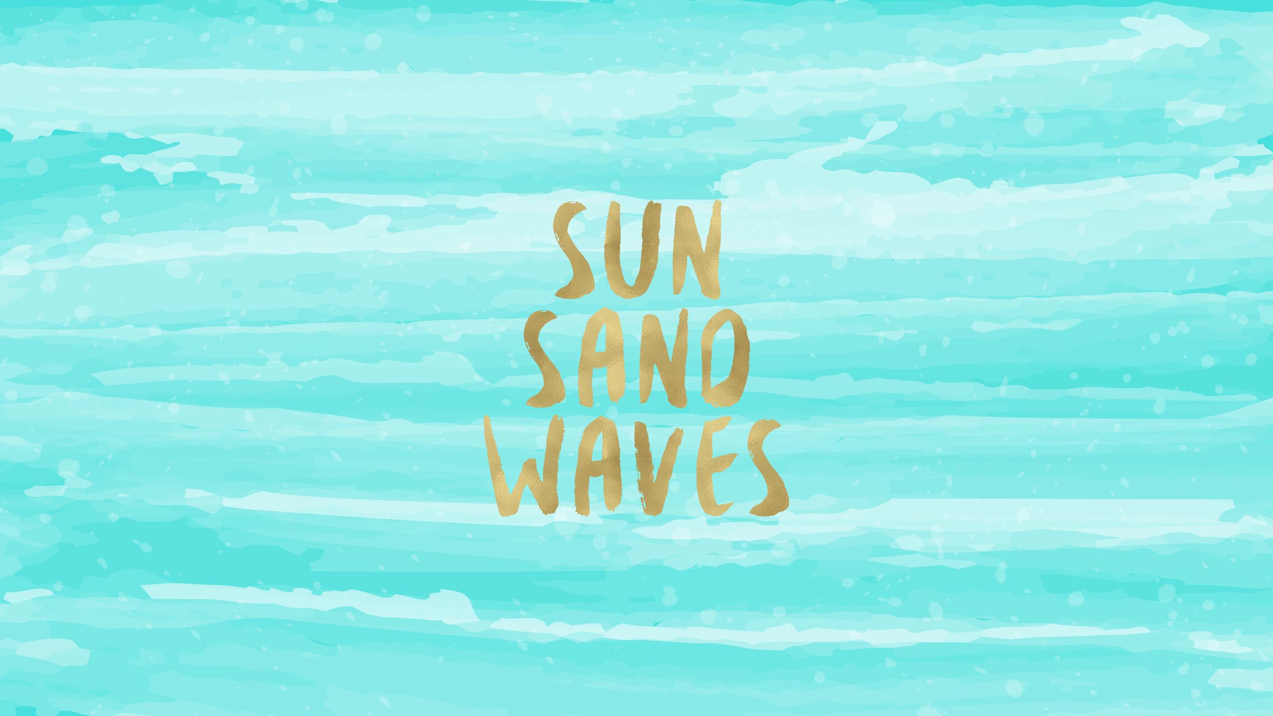 Sun Sand Waves Desktop Wallpaper Wallpapers and Backgrounds 2560x1440