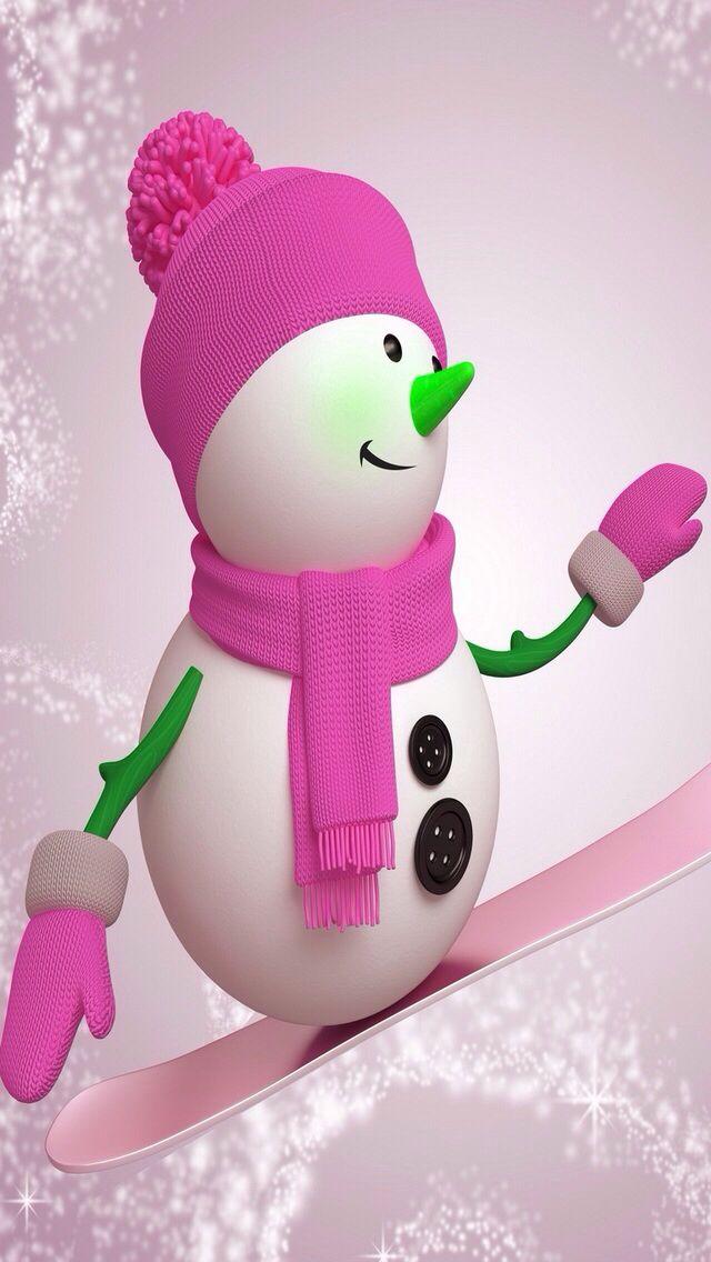 PINK SNOWMAN IPHONE WALLPAPER BACKGROUND IPHONE WALLPAPER 640x1136