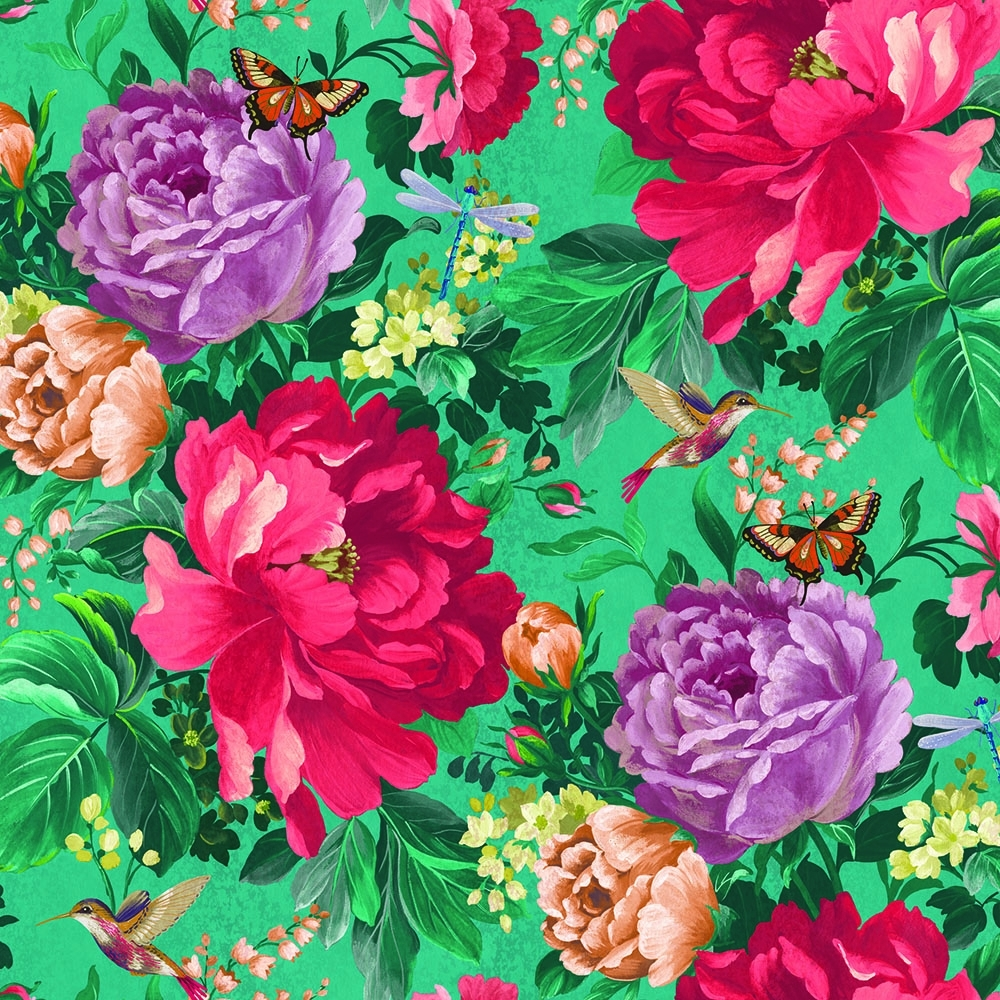 A Shade Wilder Dianthus Floral Wallpaper Kingfisher Green 300109 1000x1000