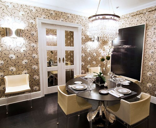 deco floral wallpaper dining room 500x409