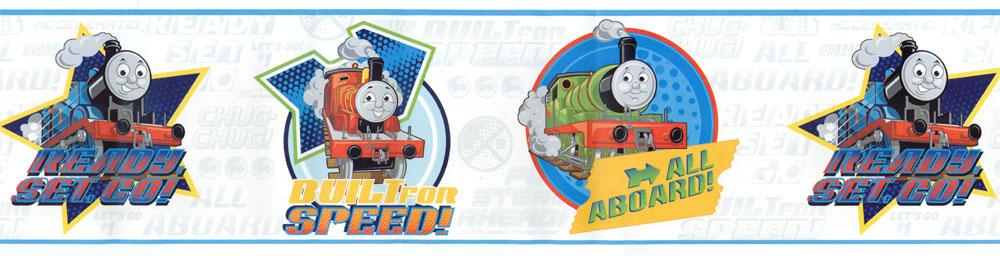 Thomas Tank Train Speed White Wallpaper Border 1000x256
