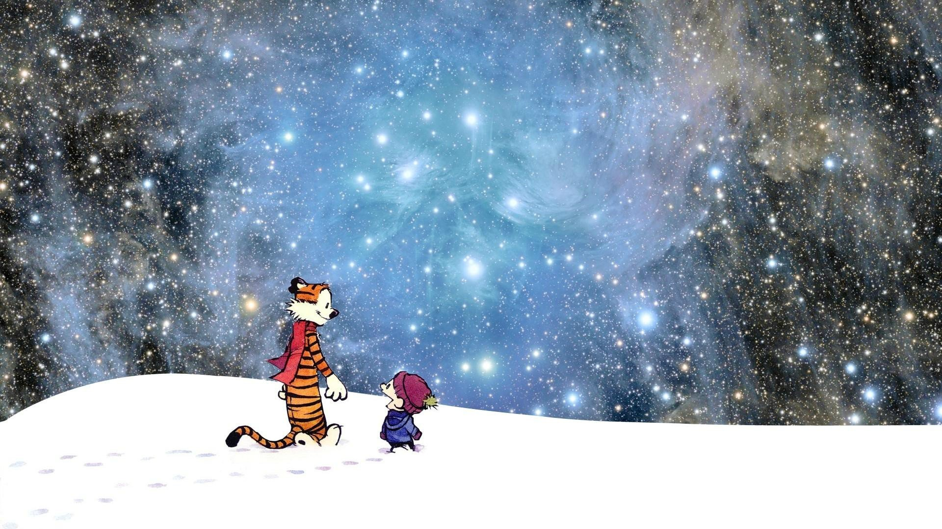 Cartoons outer space stars Calvin and Hobbes wallpaper 1920x1080