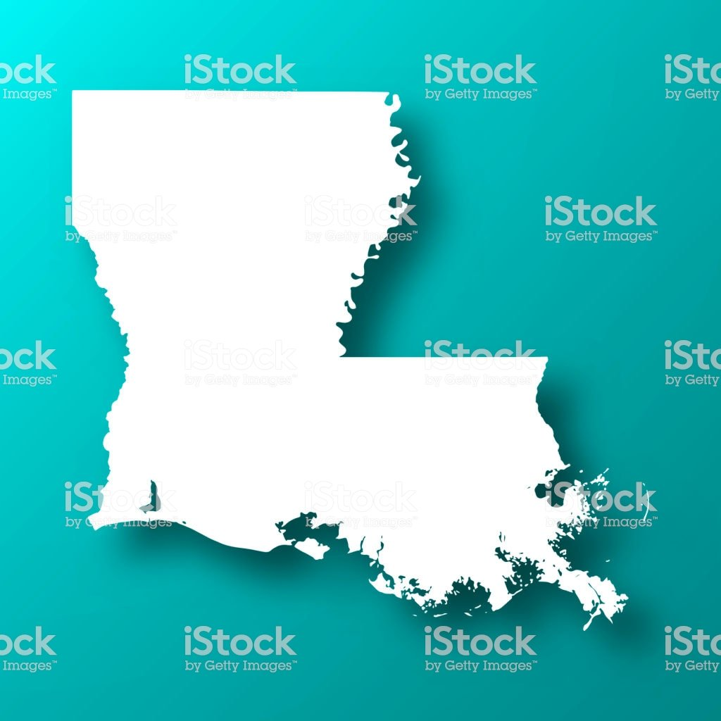 Louisiana Map On Blue Green Background With Shadow Stock 1024x1024