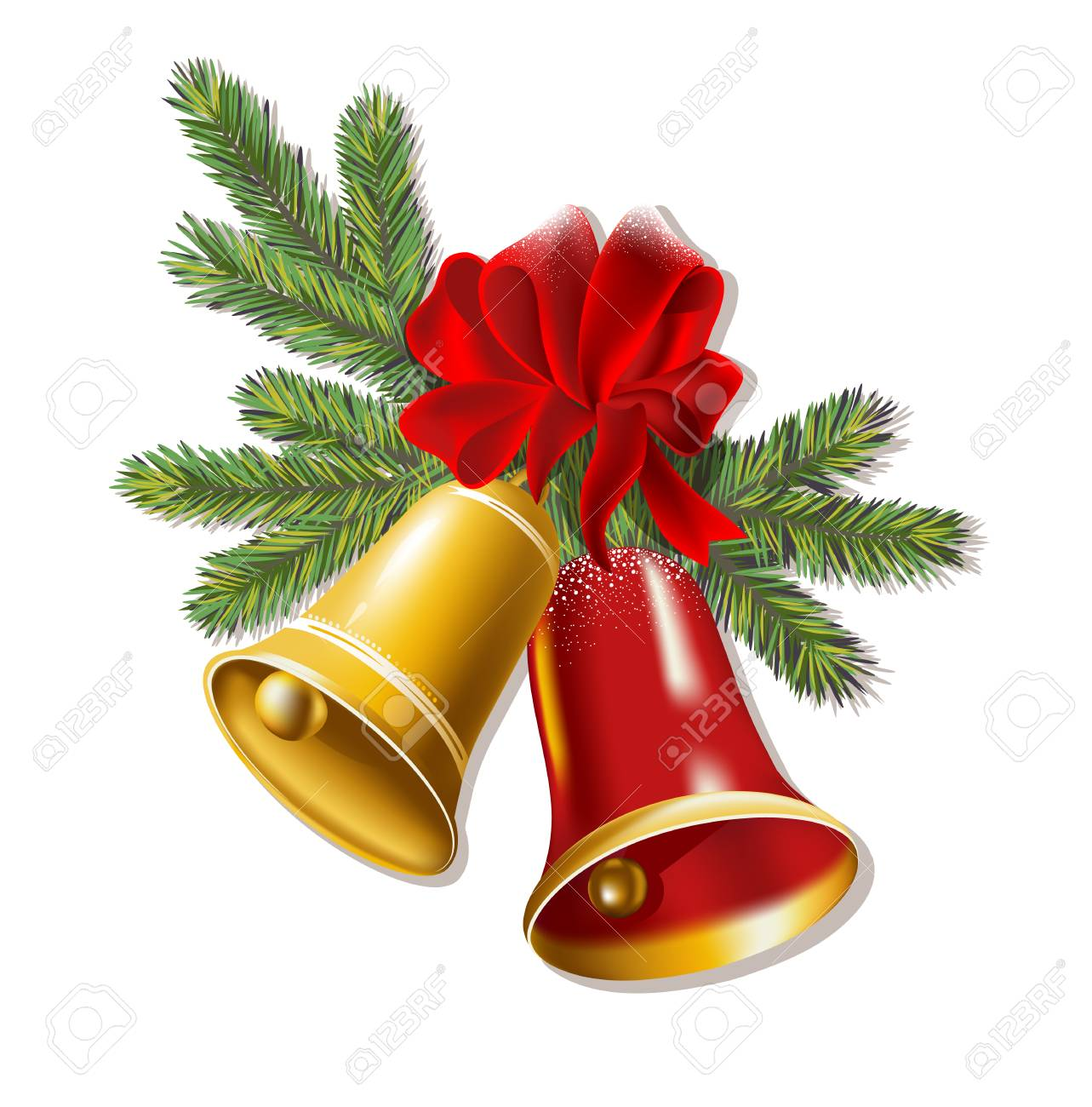 Jingle Bells With Red Bow On A White Background Vector 1283x1300