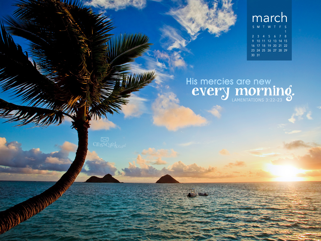 March 2014   Mercies Are New Desktop Calendar  Monthly Calendars 1024x768