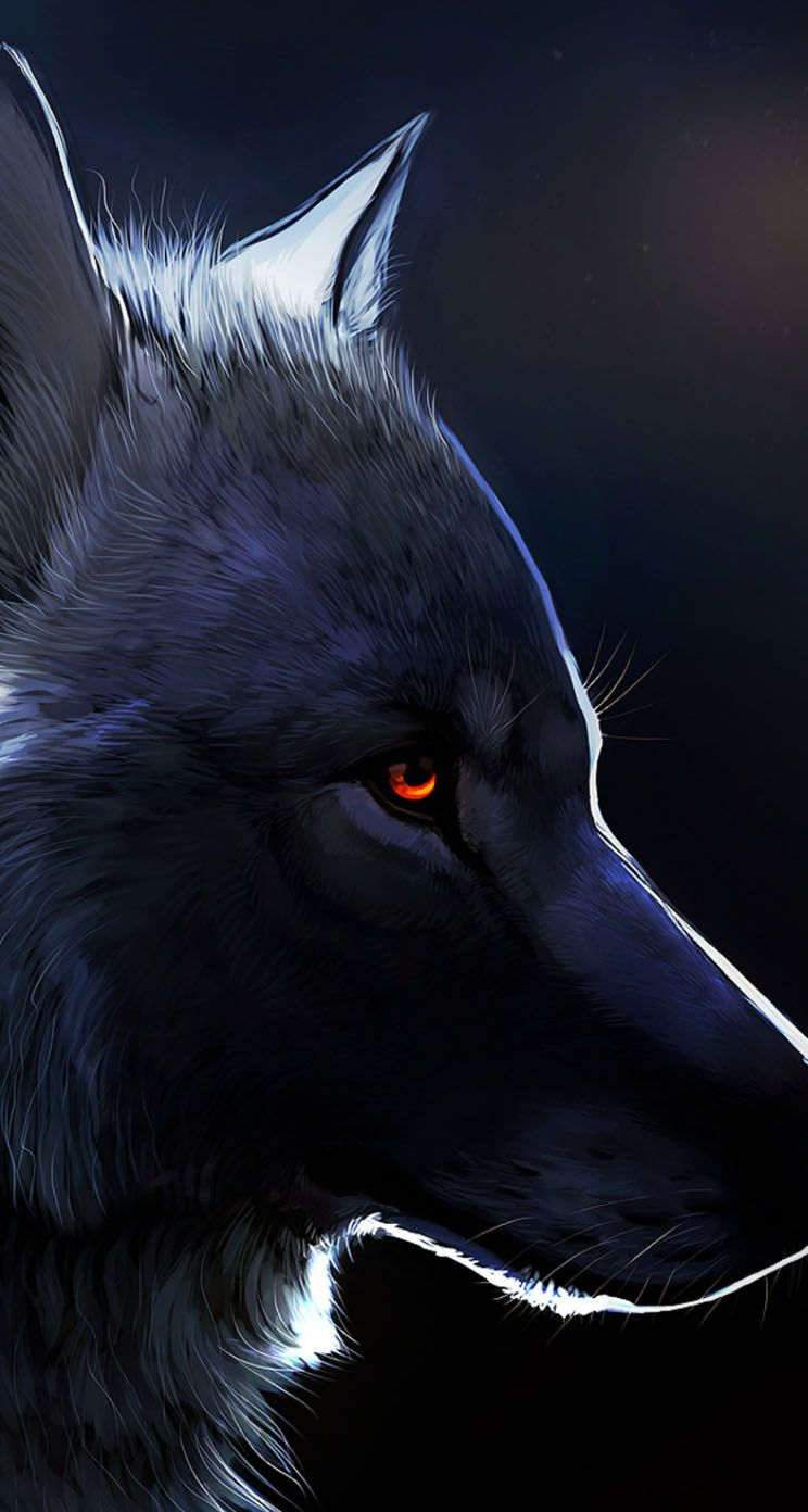 Red Eyed Black Wolf Anime wolf Wolf with red eyes Wolf wallpaper 744x1392