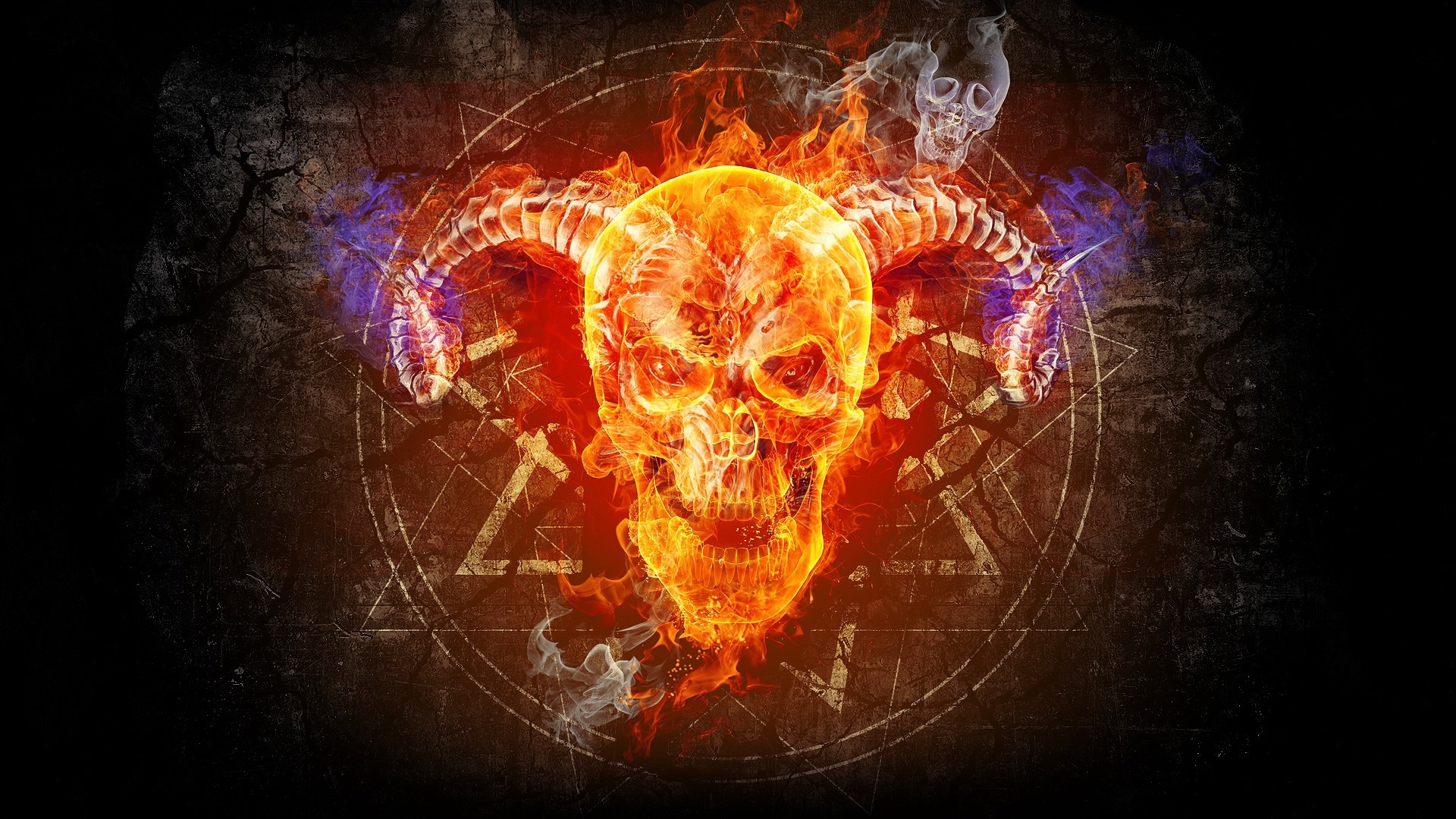 Skull Taro Prophecy Faith Fire Circle   Stock Photos Images 1920x1080