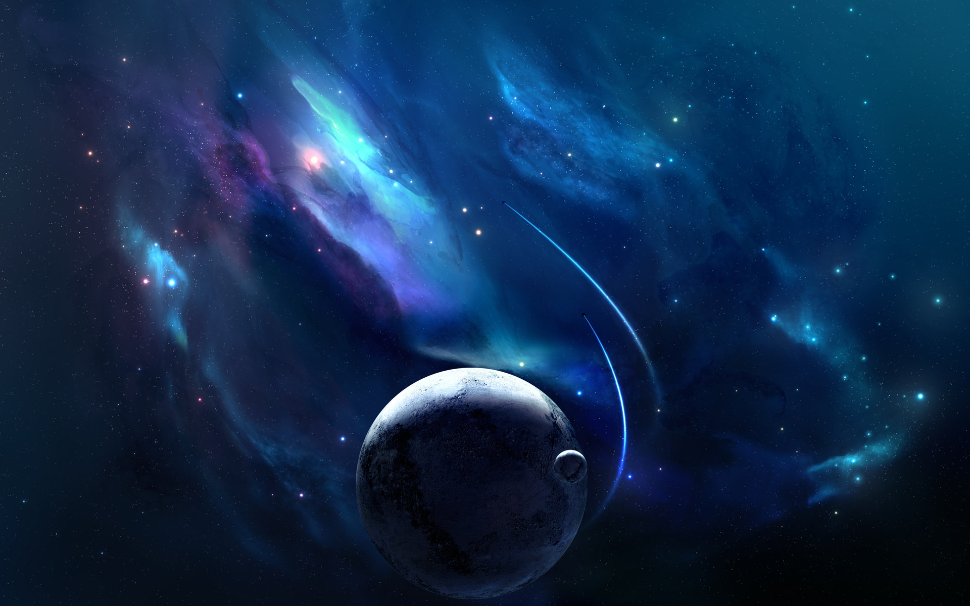 Dark Blue Planet Space HD Wallpaper 3134 HD Wallpaper 3D Desktop 1920x1200