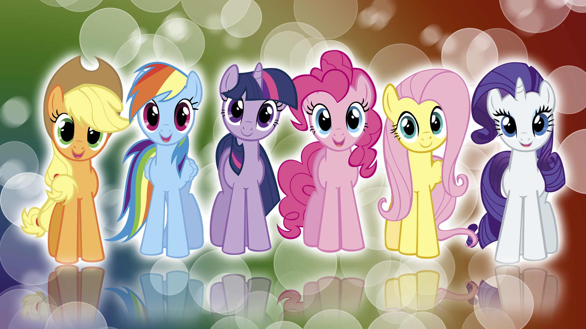 my little pony fim mane 6 colors wallpaper by 1920x1080
