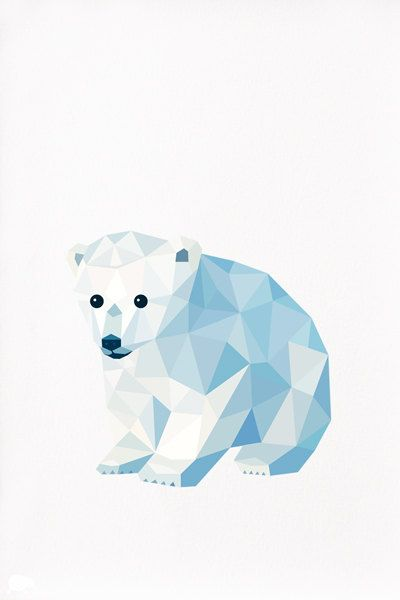 Geometric Animal Polar Bear Cubs Illustration Animals Art Animal 400x600