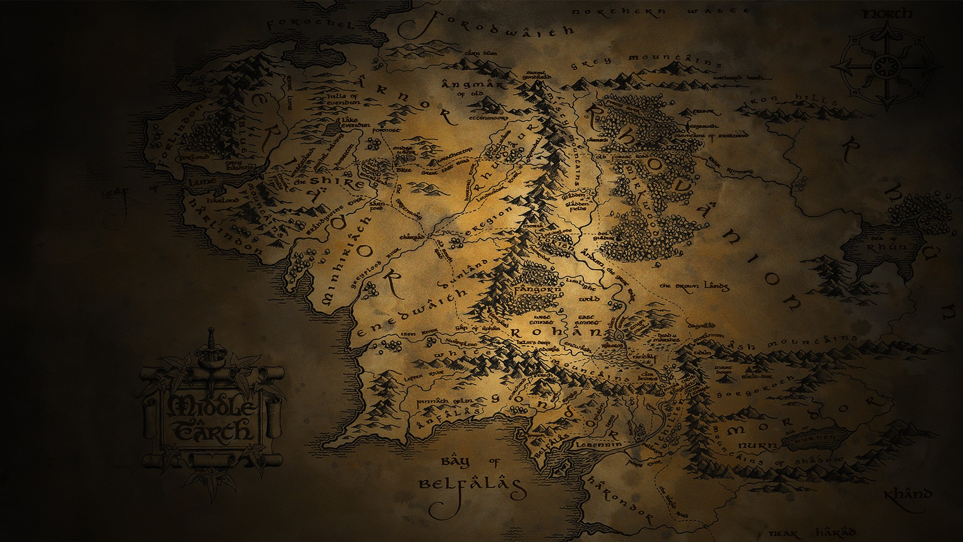 The Lord of the Rings maps Middle earth JRR Tolkien Wallpapers 1920x1080
