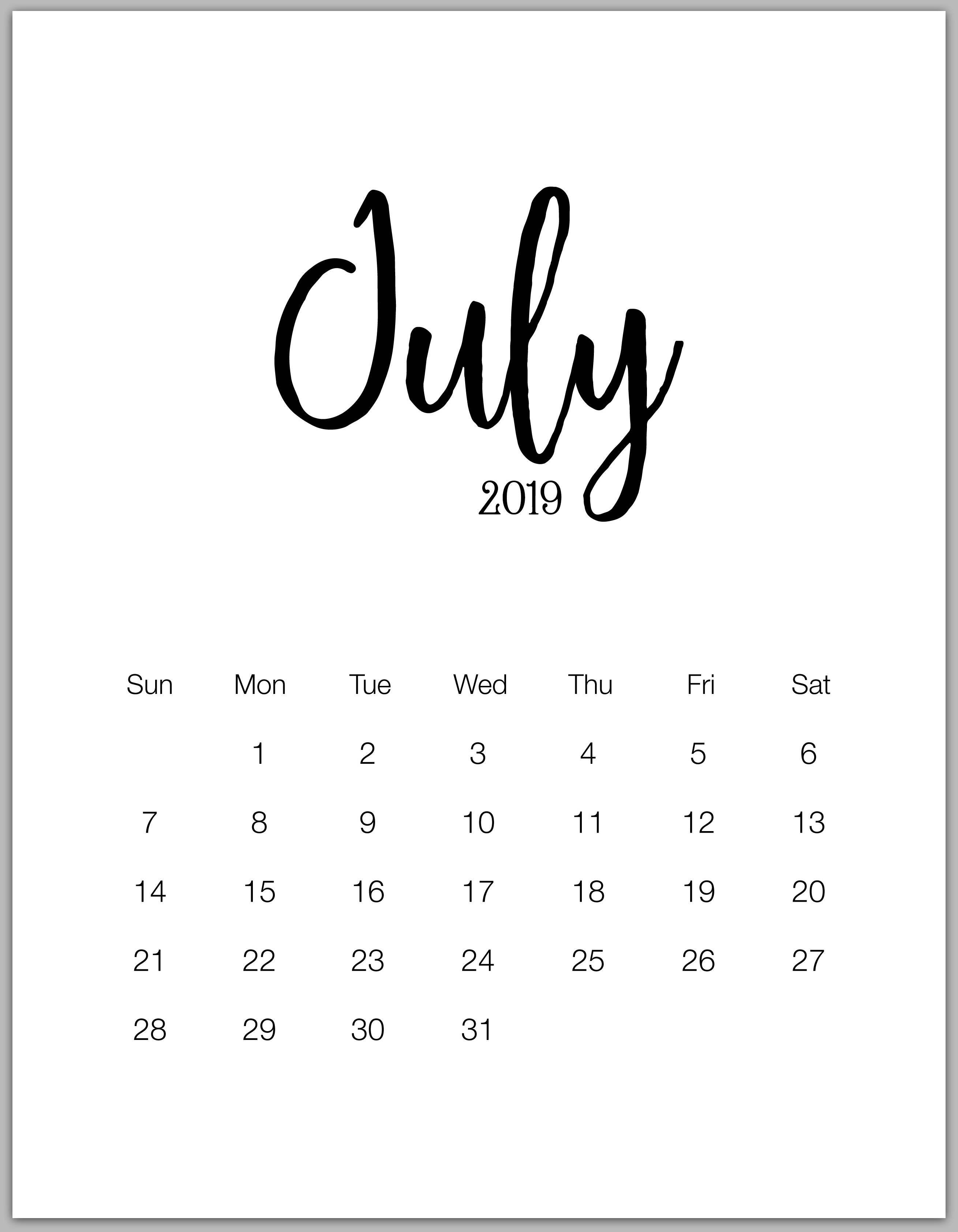 july 2019 minimalist calendar July calendar Calendar 2019 2618x3368