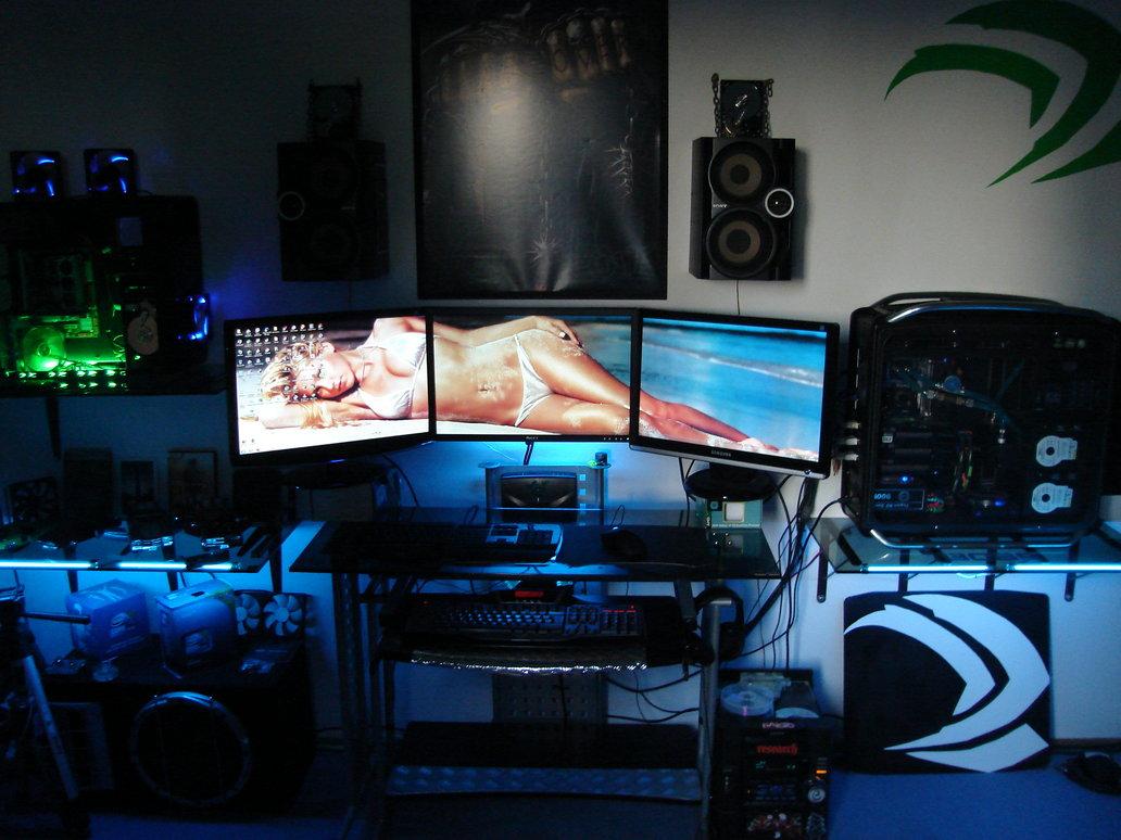 . Free download badh8me s gaming room 3 way SLi 3 monitor setup by