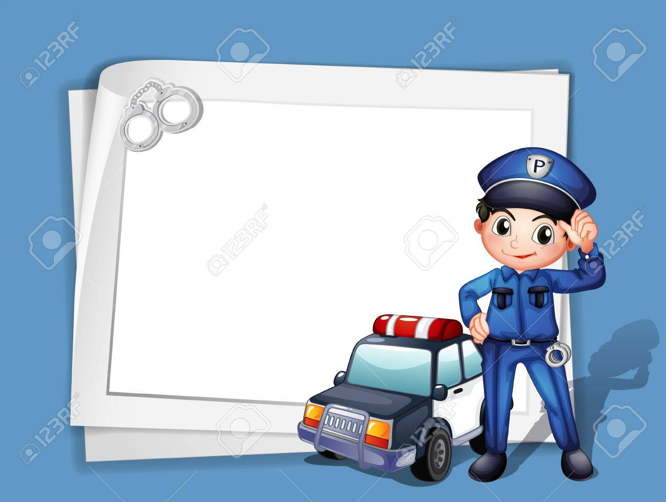 Illustration Of A Policeman Beside A Police Car On A Blue 1300x979