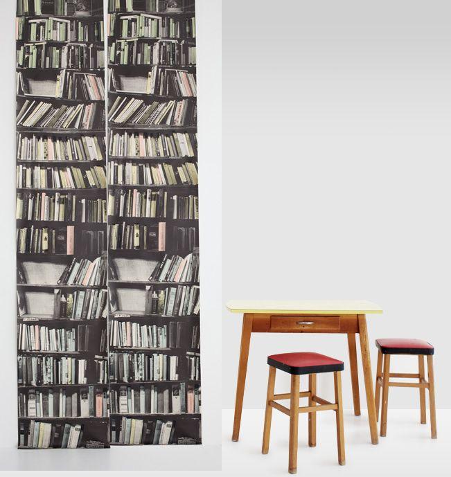 Hand Painted Fake Bookshelves Bookshelf Wallpaper By Deborah Bowness 651x689