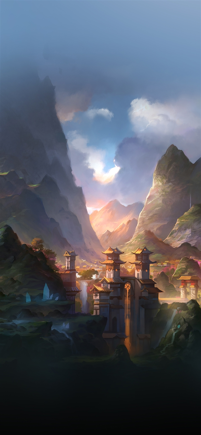 Mountain art anime peaceful iPhone X Wallpapers Download
