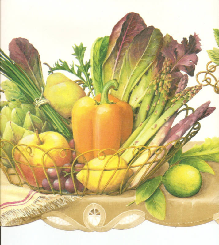Fruit Vegetables Ivy on Shelf Wht Wallpaper Border Wall eBay 714x800
