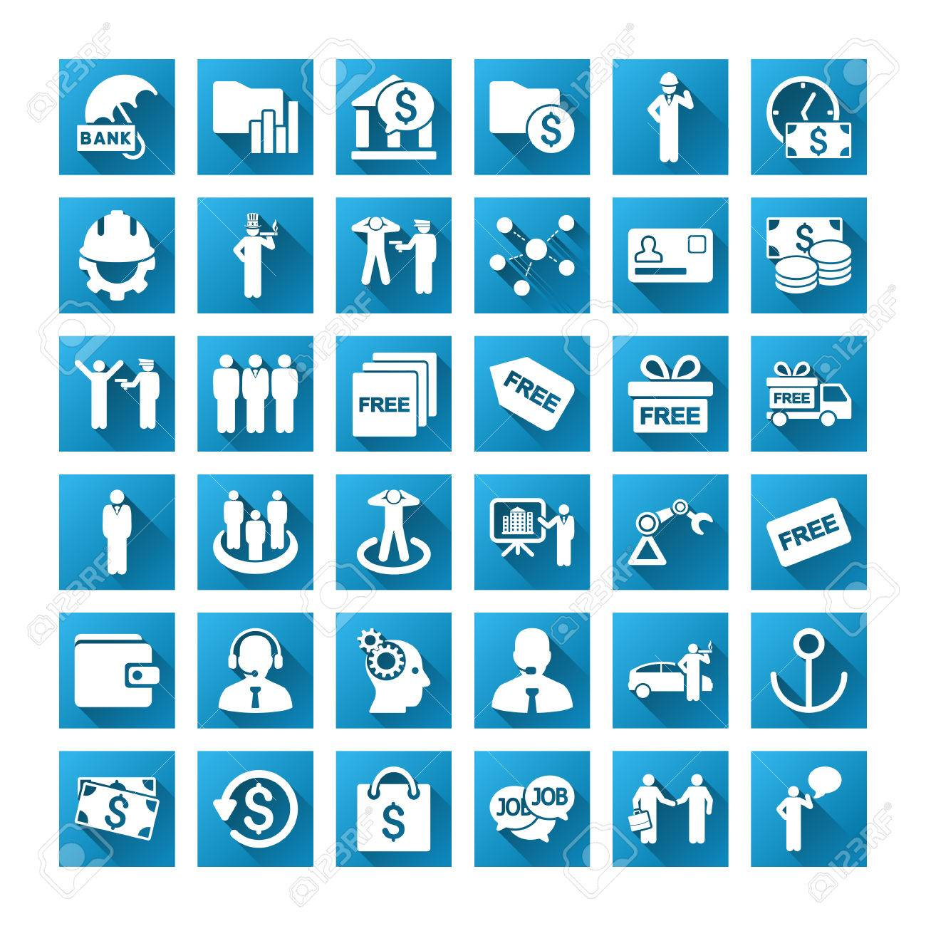 Business Vector Toolbar Icons For Software Design Style Is White 1300x1300