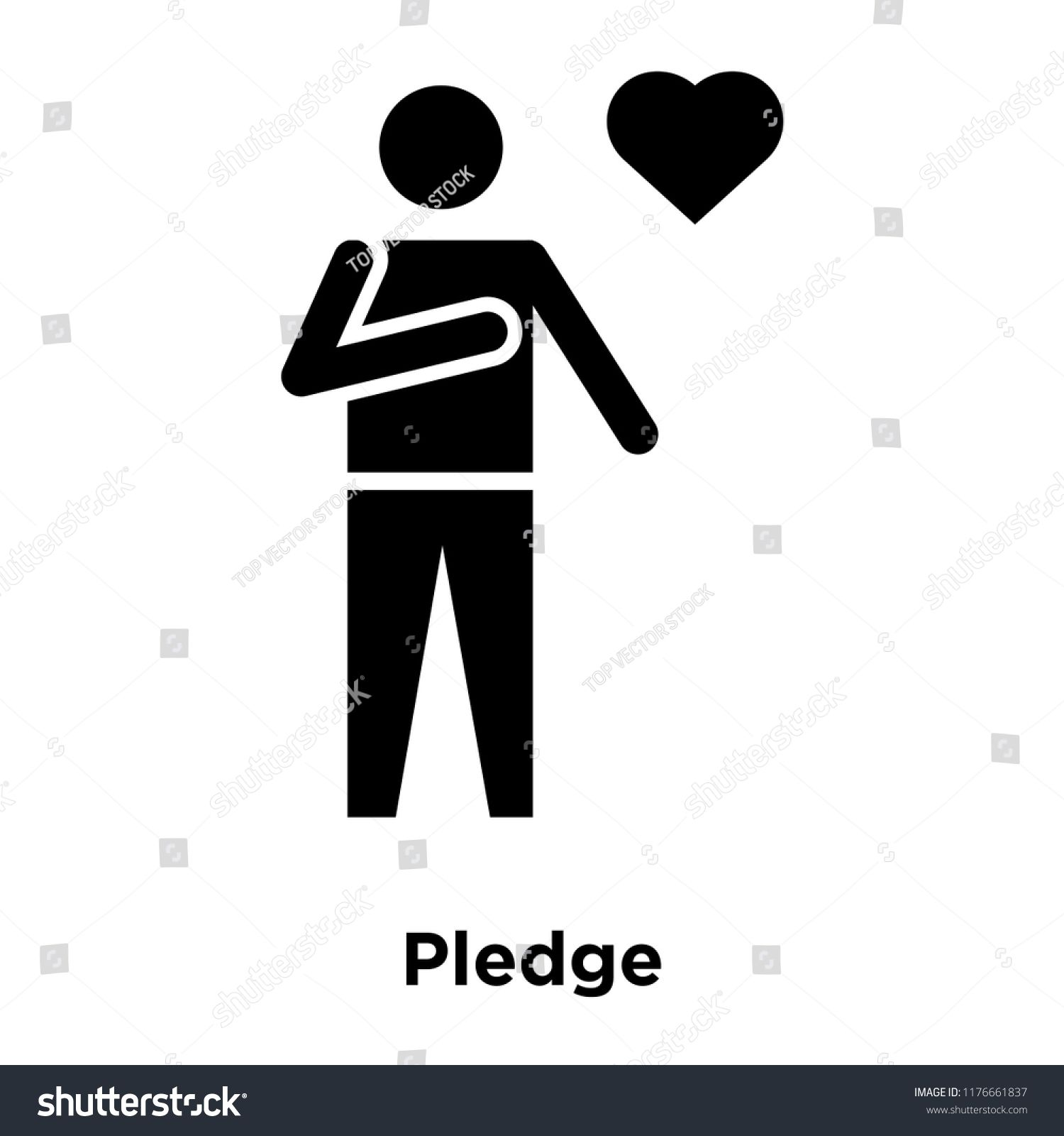 Pledge icon vector isolated on white background logo concept of 1500x1600