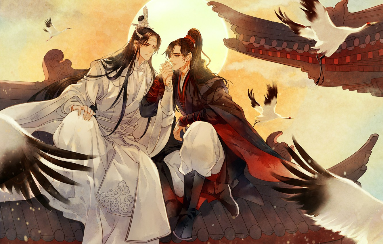 Wallpaper the sun wings friends long hair on the roof cranes 1332x850