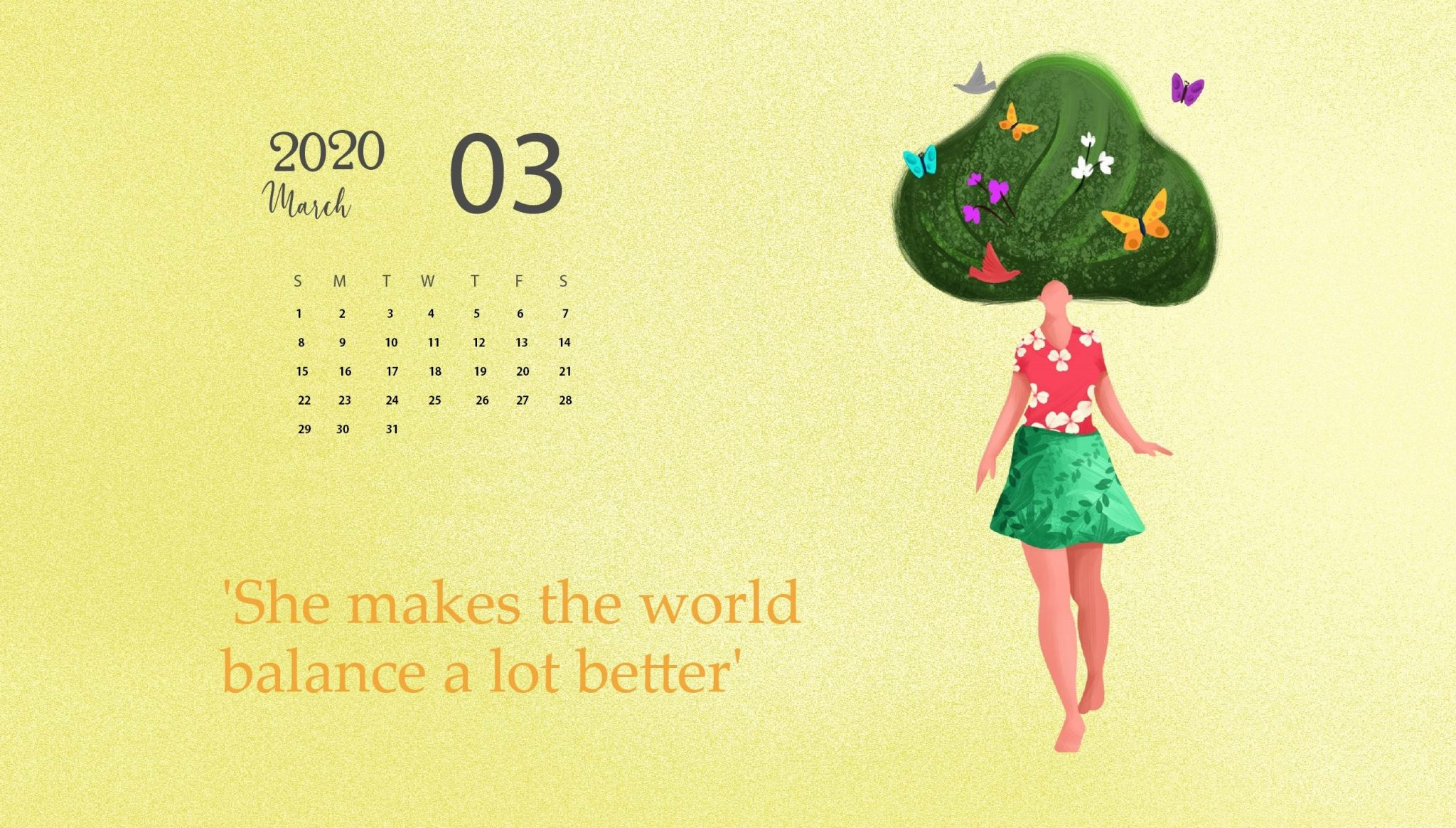 March 2020 Calendar Wallpaper   Desktop and iPhone 2048x1164