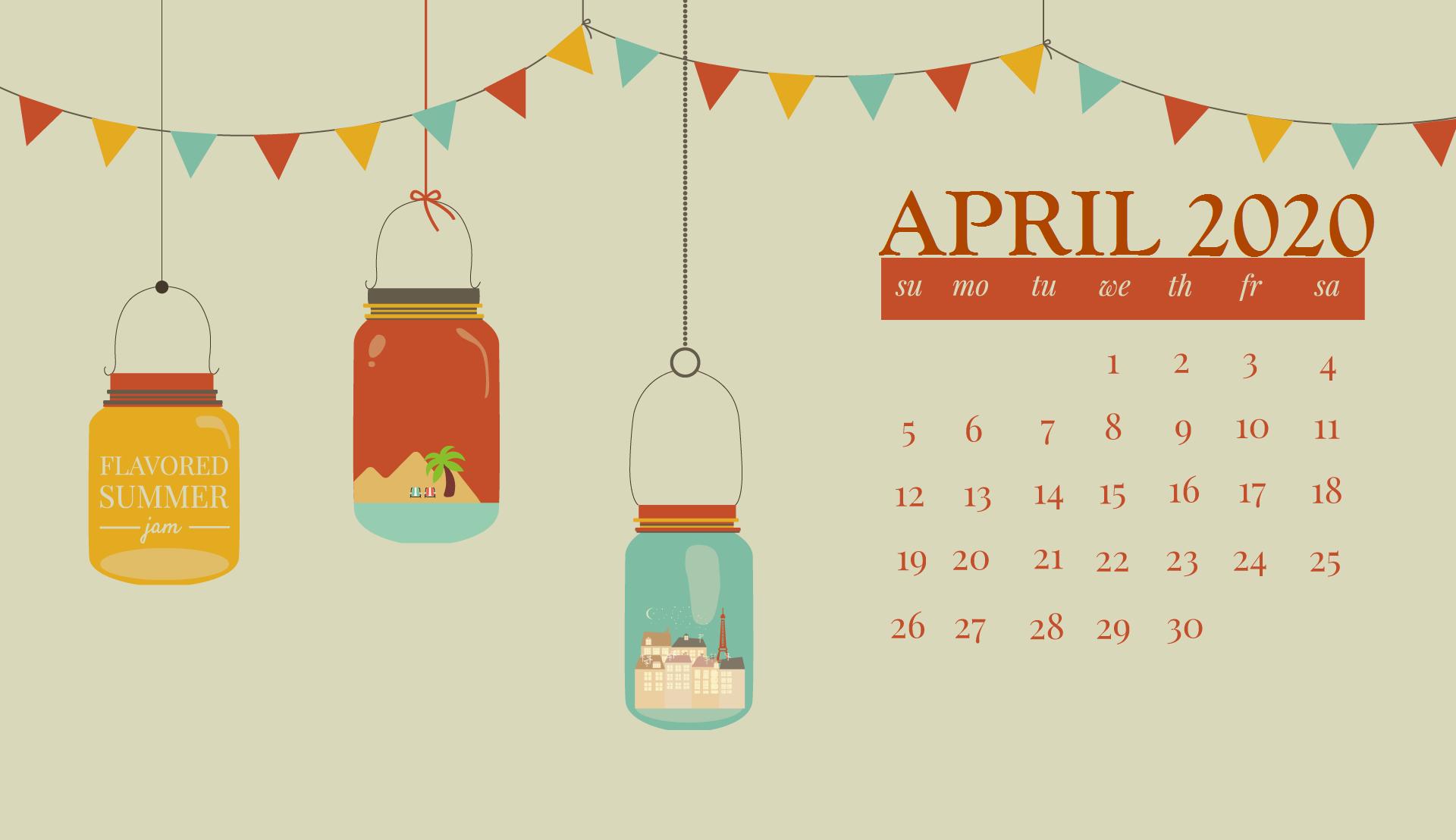 April 2020 Desktop Calendar Wallpaper Desktop wallpaper calendar 1920x1108