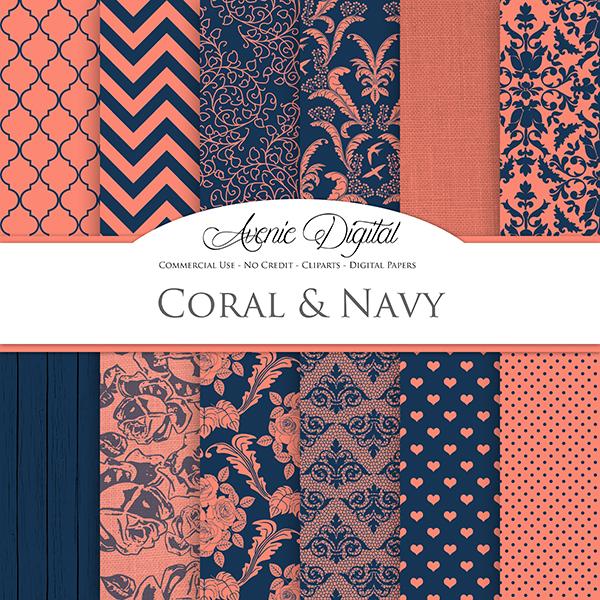 Coral Navy Wedding Digital Paper   Mygraficocom 600x600