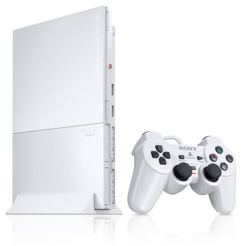 White PS2 Slim Video game stuff Playstation Playstation 2 800x812