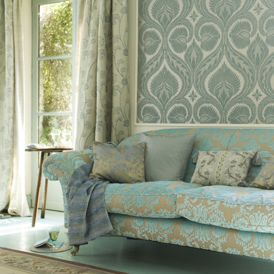 Living room with patterned wallpaper Wallpaper feature Decorating 550x550