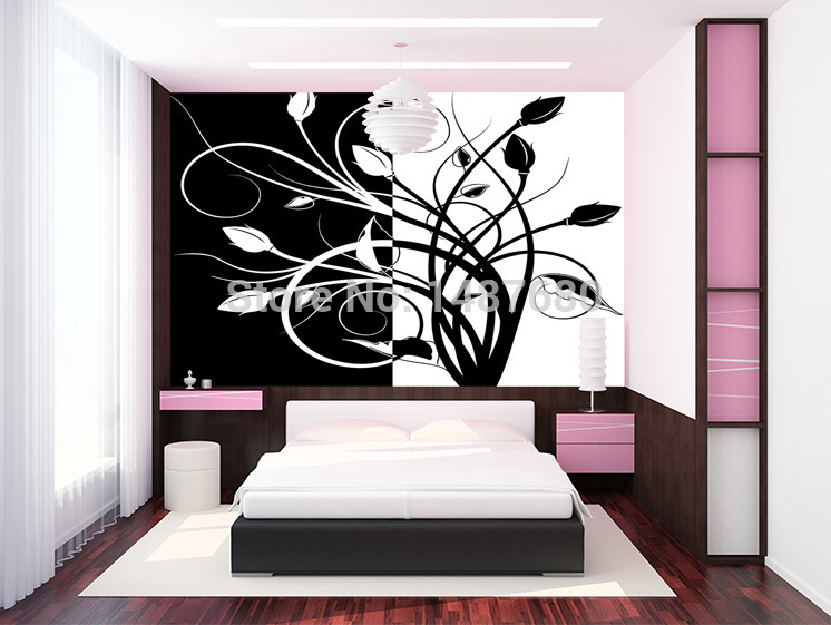 Buy Any Size Abstract black and white pattern Large mural wallpaper 746x561