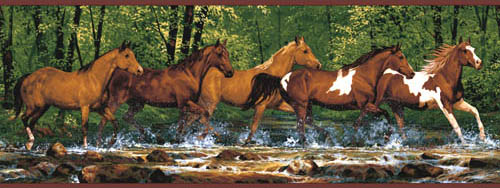 Wild Horses Western Wallpaper Border WL5506B Stallion Scarbrough 500x188