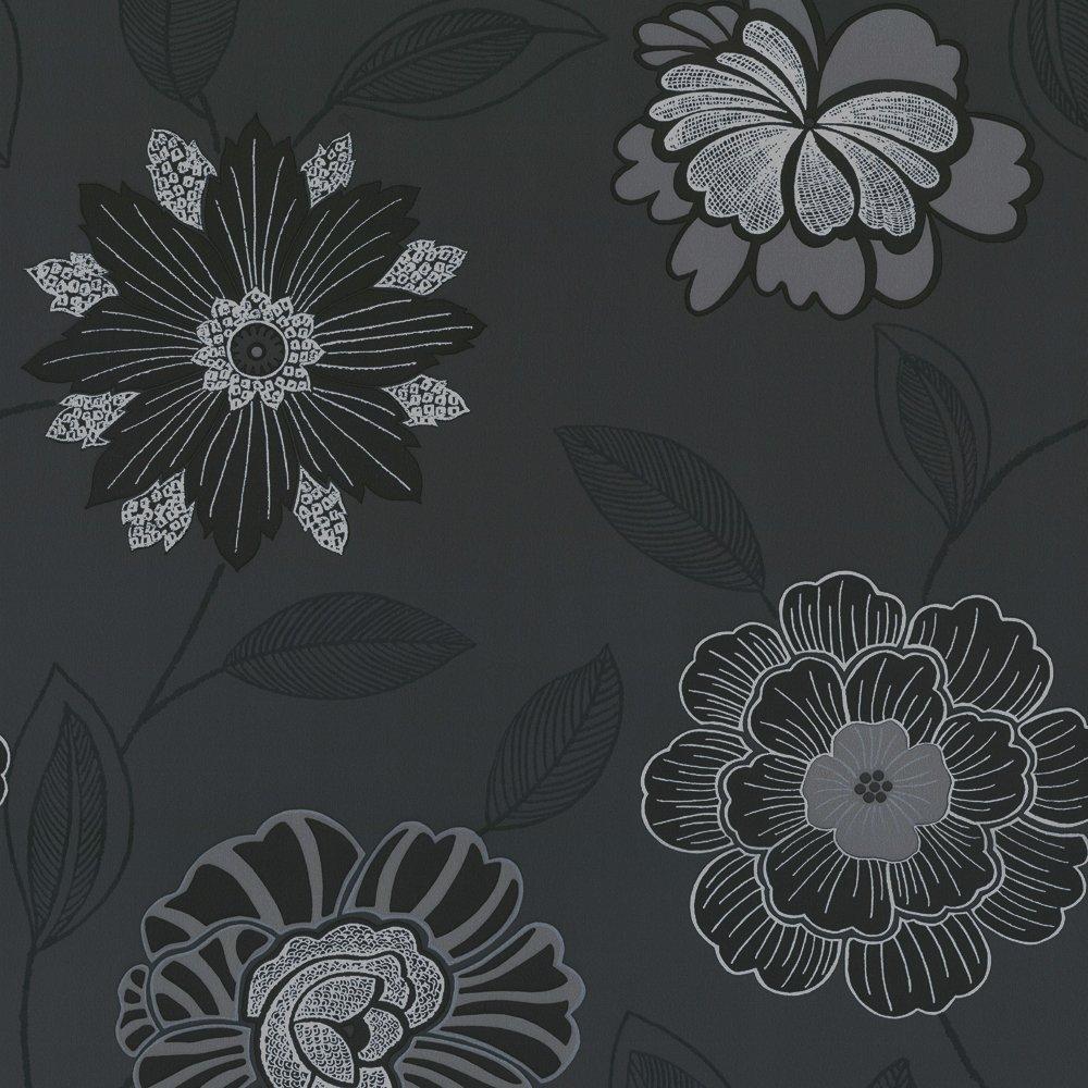 wallpaper c2crown sapphire floral wallpaper black charcoal silver 1000x1000