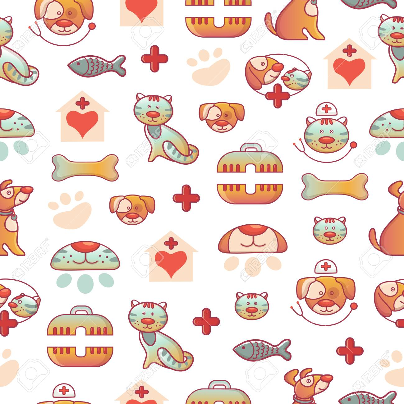 Veterinary Pets Clinic Animal Seamless Pattern Background Dogs 1300x1300
